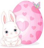 Conejito y huevo de pascua stock de ilustración
