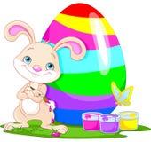 Conejito y huevo de Pascua lindos stock de ilustración