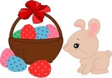 Conejito y huevos de la historieta ilustración del vector