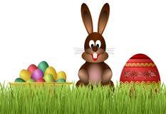 Conejito y huevos de pascua. ilustración del vector