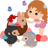 Conejito y ovejas de la historieta stock de ilustración