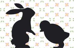 Conejito y polluelo stock de ilustración