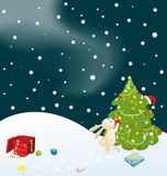 Conejito y árbol de navidad Imagenes de archivo