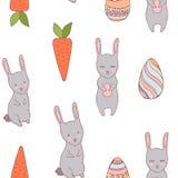 Conejito y zanahoria inconsútiles Handdrawn del modelo de pascua stock de ilustración