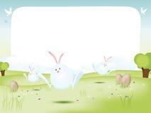 Conejitos de pascua con los huevos ilustración del vector