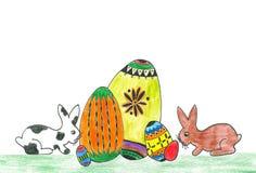 Conejitos de pascua con los huevos Fotos de archivo libres de regalías