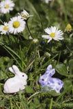 Conejitos de pascua debajo de las flores Imagenes de archivo