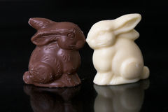 Conejitos de pascua del chocolate Fotos de archivo