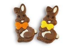 Conejitos de pascua lindos del chocolate Imagen de archivo