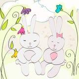 Conejitos de pascua lindos stock de ilustración