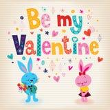 Conejitos en tarjeta retra del día de tarjeta del día de San Valentín del amor Foto de archivo