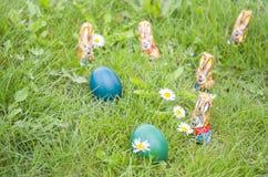 Conejitos envueltos del chocolate con los huevos de Pascua en la hierba Fotografía de archivo libre de regalías