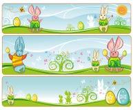 Conejitos lindos de las banderas de Pascua.   Imagen de archivo libre de regalías