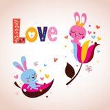 Conejitos lindos en tarjeta retra del día de tarjeta del día de San Valentín del amor Foto de archivo