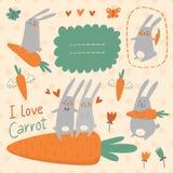 Conejitos y sistema del vector de las zanahorias Imagen de archivo