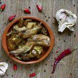Conejo Al ajillo,兔子一份典型的西班牙食谱  库存图片