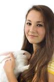 Conejo blanco con la muchacha Fotografía de archivo