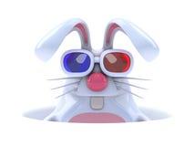 conejo blanco 3d en un agujero