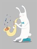 Conejo blanco de la historieta que toca el saxofón Ilustración del vector EPS 10 Imagenes de archivo