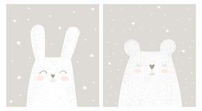 Conejo blanco exhausto y Teddy Bear Vector Illustration Set de la mano linda libre illustration