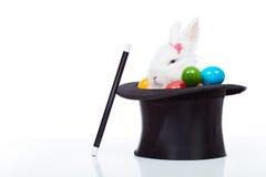 Conejo blanco lindo con los huevos de Pascua coloridos en sombrero del mago Fotografía de archivo libre de regalías