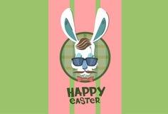 Conejo Bunny Hipster Style Mustache Glasses del día de fiesta de Pascua Foto de archivo libre de regalías