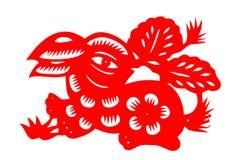Conejo chino del papel-corte imagen de archivo libre de regalías