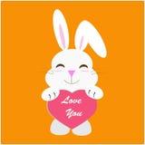 Conejo con el mensaje del amor Fotografía de archivo libre de regalías