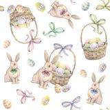 Conejo con la cesta de Pascua en un fondo blanco Coloree los huevos de Pascua Gráfico de la acuarela Trabajo hecho a mano Modelo  Fotografía de archivo libre de regalías