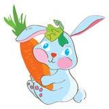 Conejo con la zanahoria divertida Imágenes de archivo libres de regalías