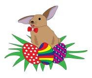 Conejo con los huevos de Pascua fotos de archivo