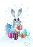 Conejo con los regalos Fotografía de archivo libre de regalías
