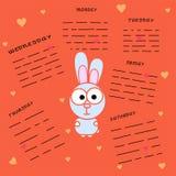 Conejo con un área para registrar en un fondo anaranjado Planeador con los días de la semana Conejo de la historieta con los cora libre illustration