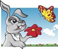 Conejo con vector de la historieta de la mariposa Imagenes de archivo