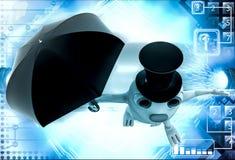 conejo 3d con el ejemplo del sombrero y del paraguas Foto de archivo libre de regalías