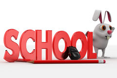 conejo 3d con el texto de escuela y el concepto del bolso y de los lápices Imagen de archivo
