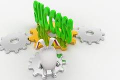 conejo 3d que mira el texto del éxito en verde en concepto de la rueda del diente Imagen de archivo