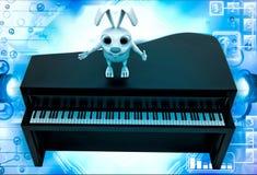 conejo 3d que se coloca en el ejemplo marrón del piano Fotografía de archivo