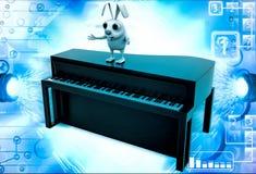 conejo 3d que se coloca en el ejemplo marrón del piano Foto de archivo libre de regalías