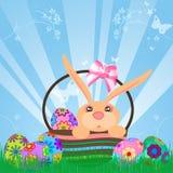 Conejo de conejito de los huevos de Pascua en cesta Fotos de archivo