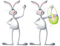 Conejo de conejito de pascua de la historieta con la cesta Imagenes de archivo