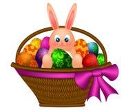 Conejo de conejito feliz de pascua en cesta del huevo stock de ilustración