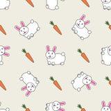 Conejo de conejito lindo con el fondo inconsútil de la zanahoria ejemplo del dise?o del vector stock de ilustración
