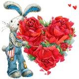 Conejo de conejito lindo Tarjeta del día de tarjetas del día de San Valentín ilustración del vector