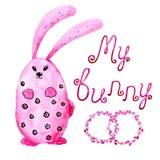 Conejo de conejito rosado Dibujo en acuarela y estilo gr?fico para el dise?o de impresiones, fondos, tarjetas, boda libre illustration
