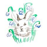 Conejo de la acuarela en flores Foto de archivo libre de regalías