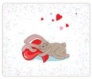 Conejo de la impresión en amor stock de ilustración