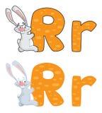 Conejo de la letra R Imagenes de archivo