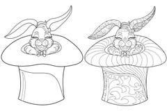 Conejo de la página que colorea Ejemplo dibujado mano del conejito del garabato del vintage para Pascua Imagen de archivo libre de regalías