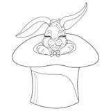 Conejo de la página que colorea Ejemplo dibujado mano del conejito del garabato del vintage para Pascua Imagen de archivo